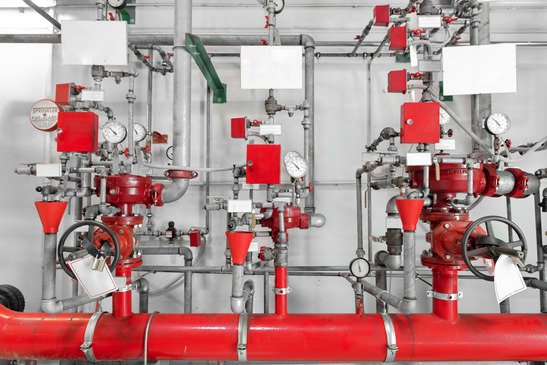 Large CO2 fire extinguishers in a thermal power plant